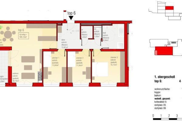 Tizianstr-9-W6-Grundriss der Eigentums-/Mietwohnungsanlage in Leonding